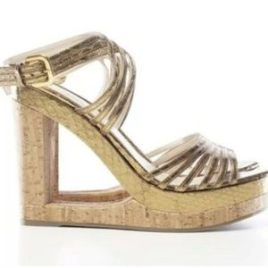 PRADA Cork Wedge Heels Python Skin Gold Cut Out